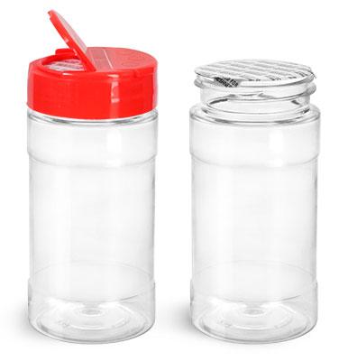 Plastic Bottles, 8 oz Clear PET Spice Bottles w/ Red Pressure Sensitive Lined Caps