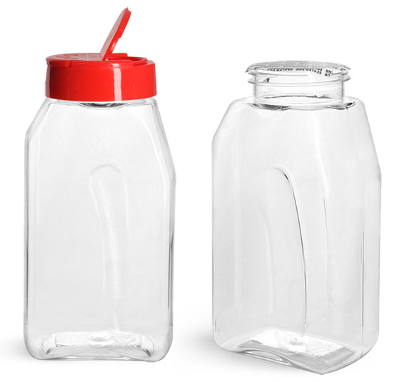 Plastic Bottles, 16 oz Clear PET Gripped Spice Bottles w/ Red Pressure Sensitive Lined Caps