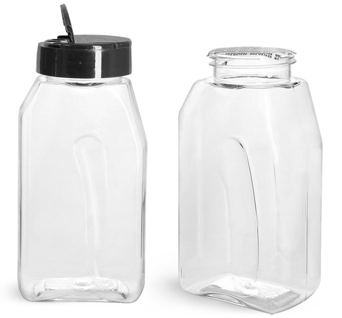 PET Plastic Bottles, Clear Gripped Spice Bottles w/ Black Pressure Sensitive Lined Caps
