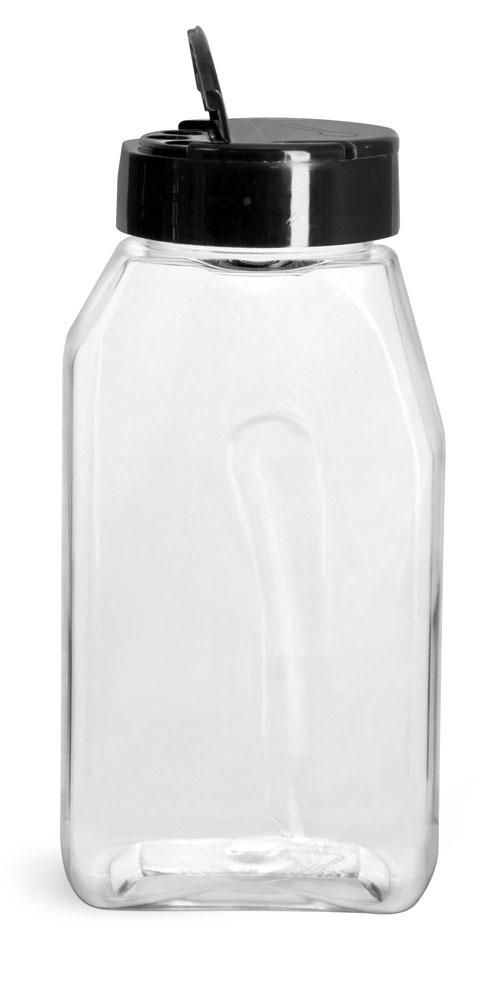 Clear PET Gripped Spice Bottles w/ Black Pressure Sensitive Lined Caps