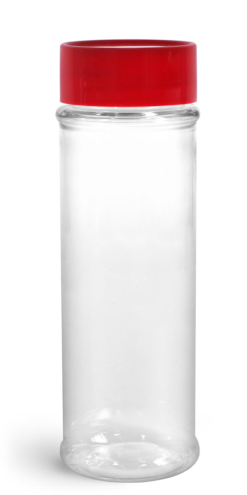 Clear PET Spice Bottles w/ Sifters and Red Unlined Caps