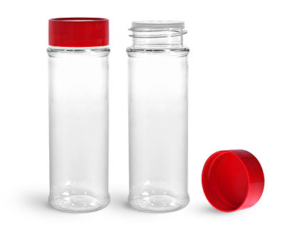 Plastic Bottles, Clear PET Spice Bottles w/ Sifters and Red Unlined Caps
