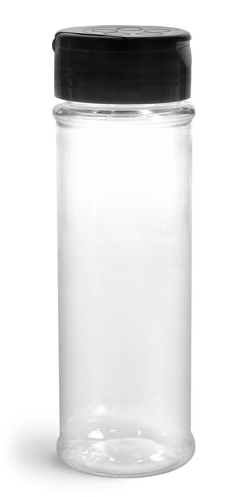 Plastic Bottles, Clear PET Spice Bottles w/ Black Pressure Sensitive Lined Caps