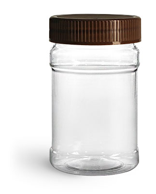 Plastic Jars, 10 oz Clear PET Plastic Jars w/ Brown Ribbed Induction Lined Caps