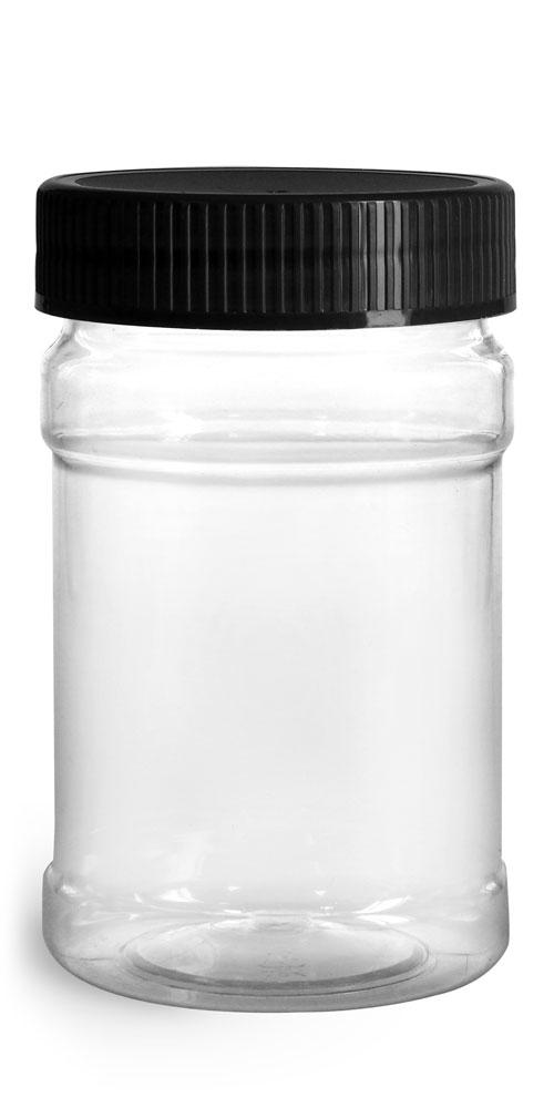 Food Jars, 10 oz Clear PET Plastic Jars w/ Black Ribbed Induction Lined Caps