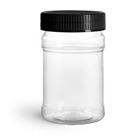 Plastic Jars, 10 oz Clear PET Plastic Jars w/ Black Ribbed Induction Lined Caps