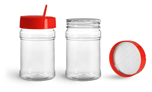 Plastic Jars, 10 oz Clear PET Spice Bottles w/ Red Pressure Sensitive Lined Caps