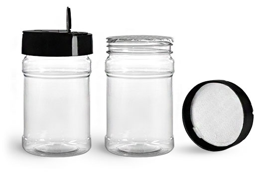 Plastic Jars, 10 oz Clear PET Spice Bottles w/ Black Pressure Sensitive Lined Caps