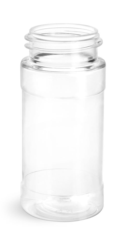 4 oz Clear PET Spice Bottles (BULK), Caps NOT Included