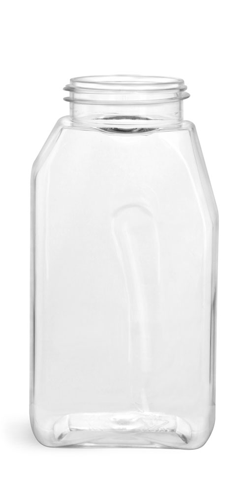 16 oz Clear PET Gripped Spice Bottles