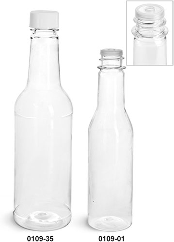 Plastic Bottles, Clear PET Sauce Bottles w/ White Ribbed Lined Caps & Orifice Reducers