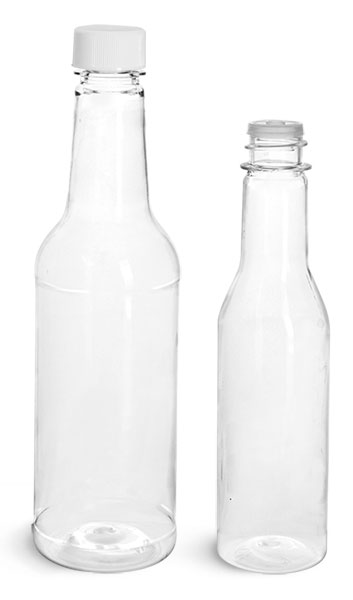 PET Plastic Bottles, Clear Sauce Bottles w/ White Ribbed Lined Caps & Orifice Reducers