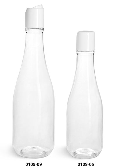 Plastic Bottles, Clear PET Woozy Bottles w/ White Disc Top Caps
