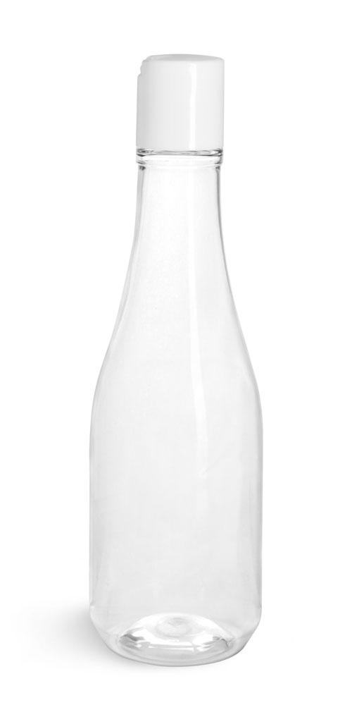 Clear PET Woozy Bottles w/ White Disc Top Caps