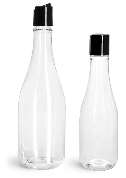 PET Plastic Bottles, Clear Woozy Bottles w/ Black Disc Top Caps