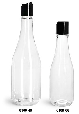Plastic Bottles, Clear PET Woozy Bottles w/ Black Disc Top Caps
