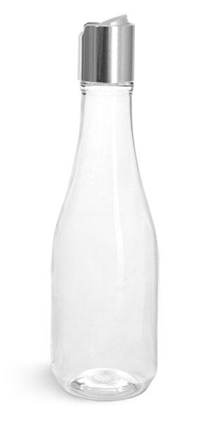 PET Plastic Bottles, Clear Woozy Bottles w/ Silver Disc Top Caps