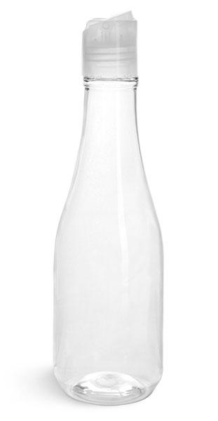 PET Plastic Bottles, Clear Woozy Bottles w/ Natural Disc Top Caps