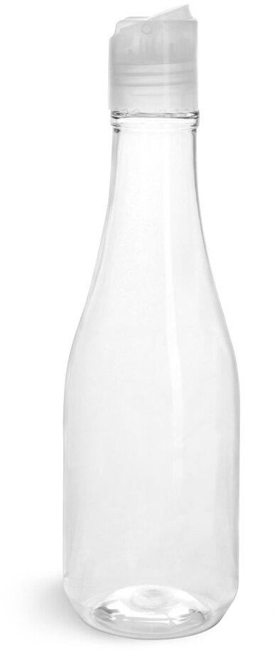 Clear PET Woozy Bottles w/ Natural Disc Top Caps