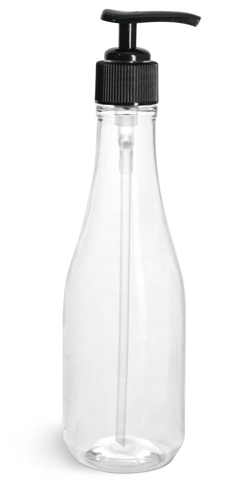 8 oz w/ Black Pump Clear PET Woozy Bottles w/ Black Lotion Pumps