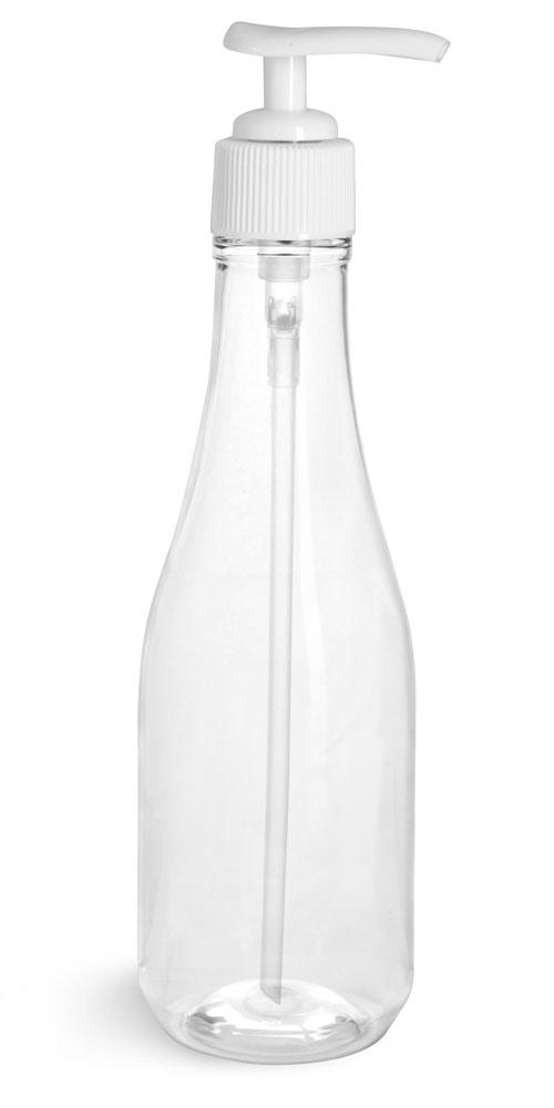 Clear PET Woozy Bottles w/ White Lotion Pumps