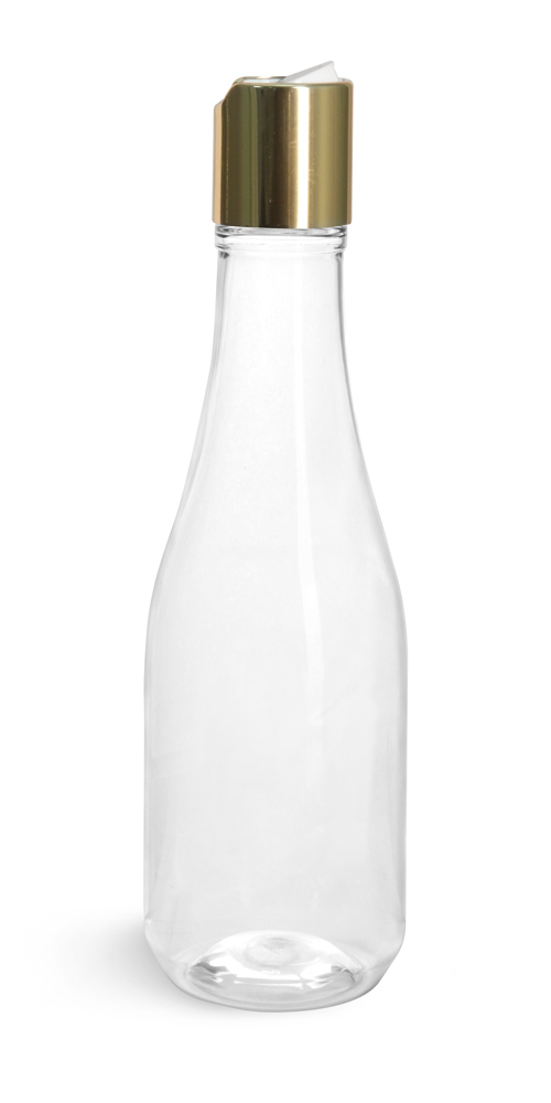 8 oz Clear PET Woozy Bottles w/ Gold Smooth Disc Top Caps