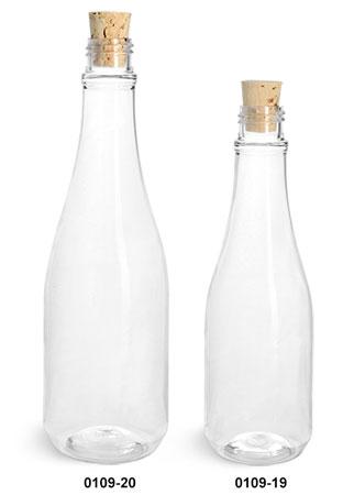 Plastic Bottles, Clear PET Woozy Bottles w/ Cork Stoppers