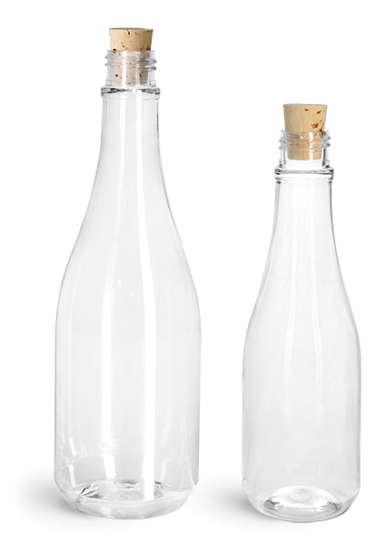 PET Plastic Bottles, Clear Woozy Bottles w/ Cork Stoppers