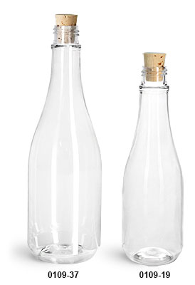 Plastic Bottles, Clear PET Woozy Bottles w/ Cork Stoppers