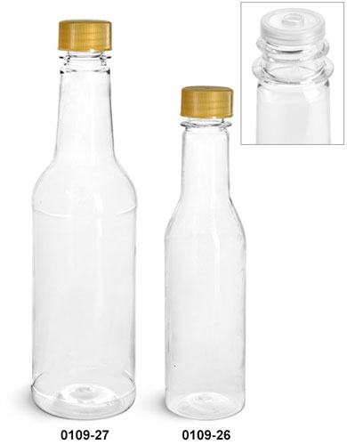 Plastic Bottles, Clear PET Sauce Bottles w/ Gold Ribbed Lined Caps & Orifice Reducers