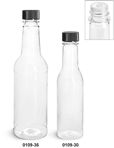Plastic Bottles, Clear PET Sauce Bottles w/ Black Ribbed Lined Caps & Orifice Reducers