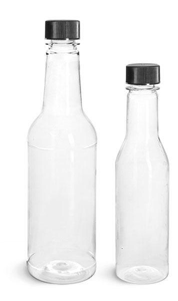 PET Plastic Bottles, Clear Sauce Bottles w/ Black Ribbed Lined Caps & Orifice Reducers
