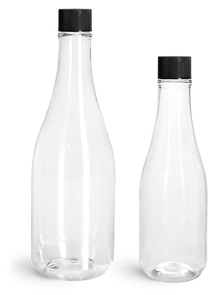 PET Plastic Bottles, Clear Woozy Bottles w/ Black Ribbed Lined Caps & Orifice Reducers