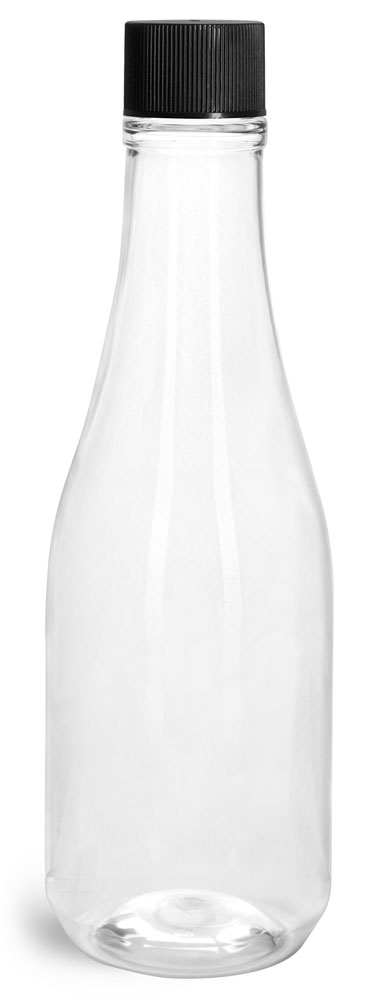 Clear PET Woozy Bottles w/ Black Ribbed Lined Caps & Orifice Reducers
