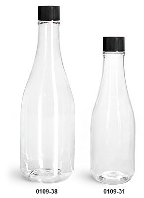Plastic Bottles, Clear PET Woozy Bottles w/ Black Ribbed Lined Caps & Orifice Reducers