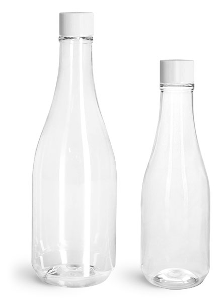 PET Plastic Bottles, Clear Woozy Bottles w/ White Ribbed Lined Caps & Orifice Reducers