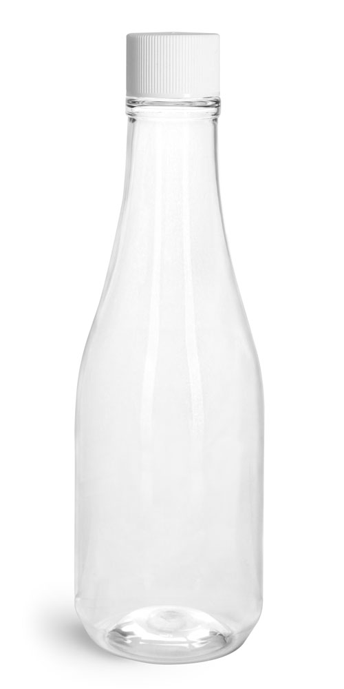 Clear PET Woozy Bottles w/ White Ribbed Lined Caps & Orifice Reducers
