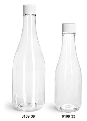 Plastic Bottles, Clear PET Woozy Bottles w/ White Ribbed Lined Caps & Orifice Reducers