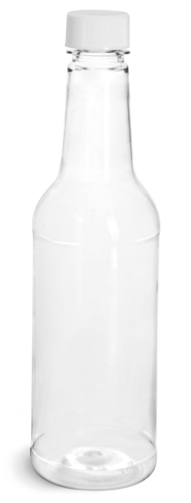 Clear PET Sauce Bottles w/ White Ribbed Lined Caps & Orifice Reducers