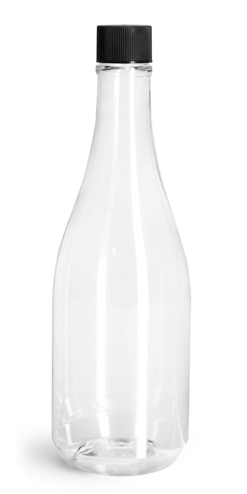14.5 oz Clear PET Woozy Bottles w/ Black Ribbed Lined Caps & Orifice Reducers