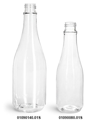 Plastic Bottles, Clear PET Woozy Bottles (Bulk) Caps Not Included