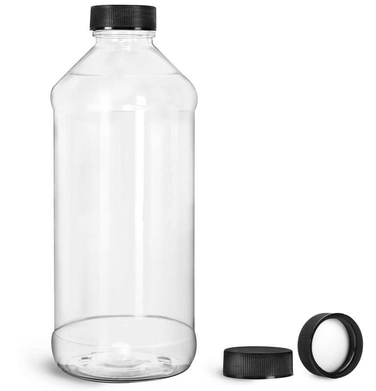 Clear PET Modern Round Bottles w/ Black Ribbed PE Lined Caps