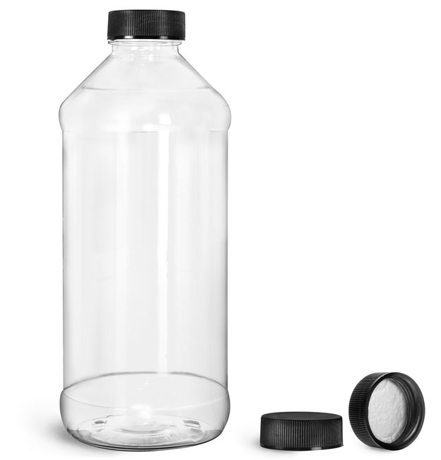 Plastic Bottles, Clear PET Modern Round Bottles w/ Black Ribbed Induction Lined Caps
