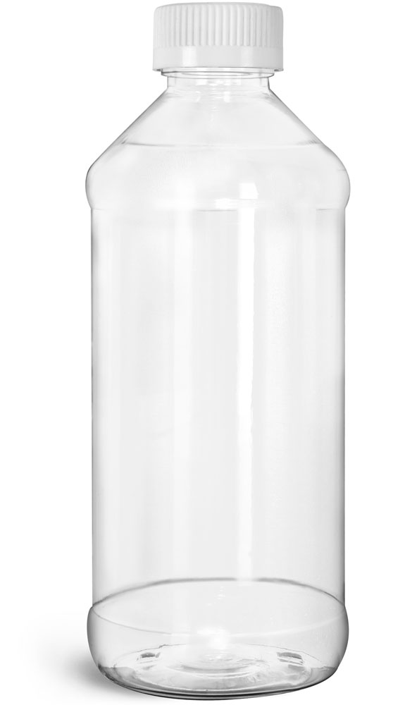 Clear PET Modern Round Bottles w/ White Child Resistant Caps