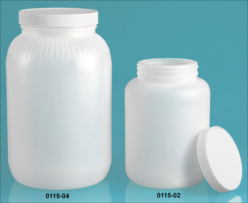 Plastic Bottles, Natural HDPE Wide Mouth Round Bottles w/ White Ribbed Lined Caps