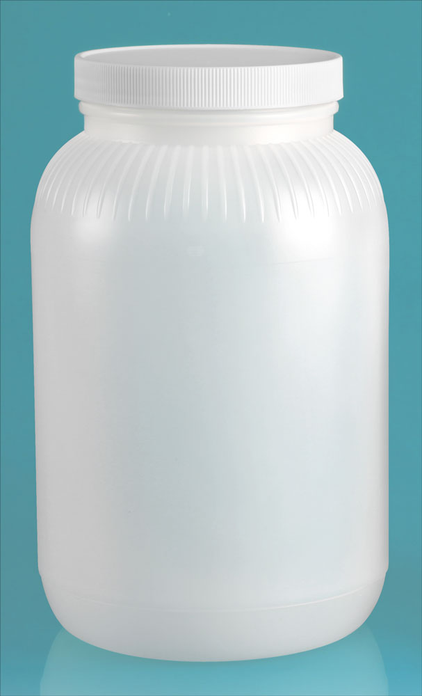 1 gal Natural HDPE Wide Mouth Bottle w/ White Ribbed Lined Caps