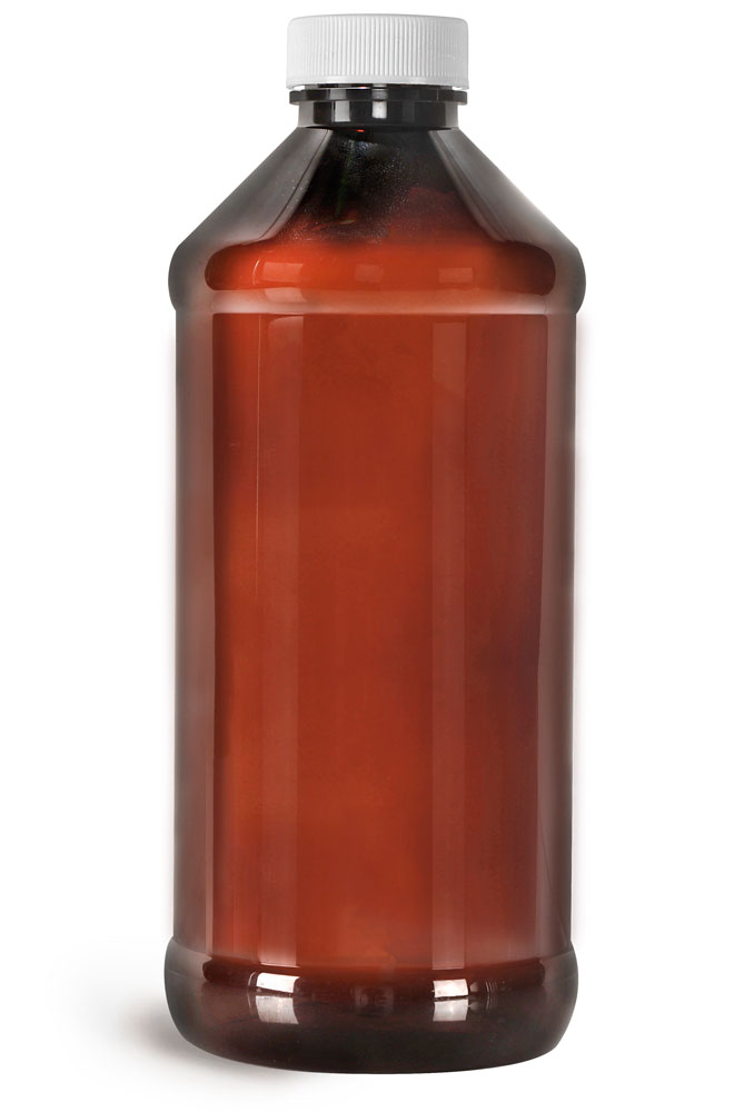 Amber PET Modern Round Bottles w/ White Ribbed Induction Lined Caps