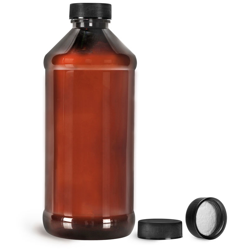 Amber PET Modern Round Bottles w/ Black Ribbed Induction Lined Caps