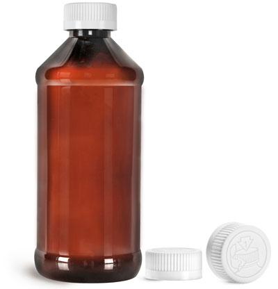 Plastic Bottles, Amber PET Modern Round Bottles w/ White Child Resistant Caps
