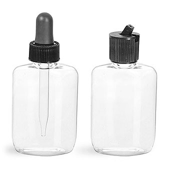 Plastic Bottles, 1.25 oz Clear PVC Oval w/ Dispensing Caps